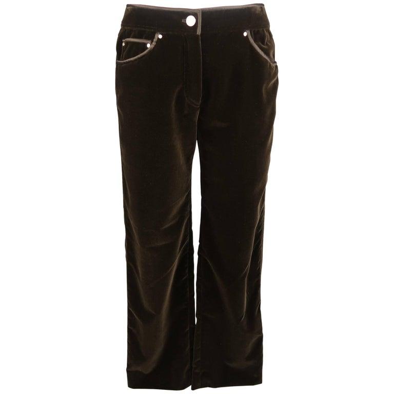 VALENTINO Size 6 Brown Velvet Silk Piping Straight Leg Jeans