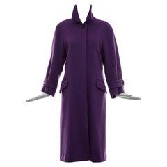 Bill Blass Gidding Jenny Wool Violet Button Front Coat, Circa 1970's