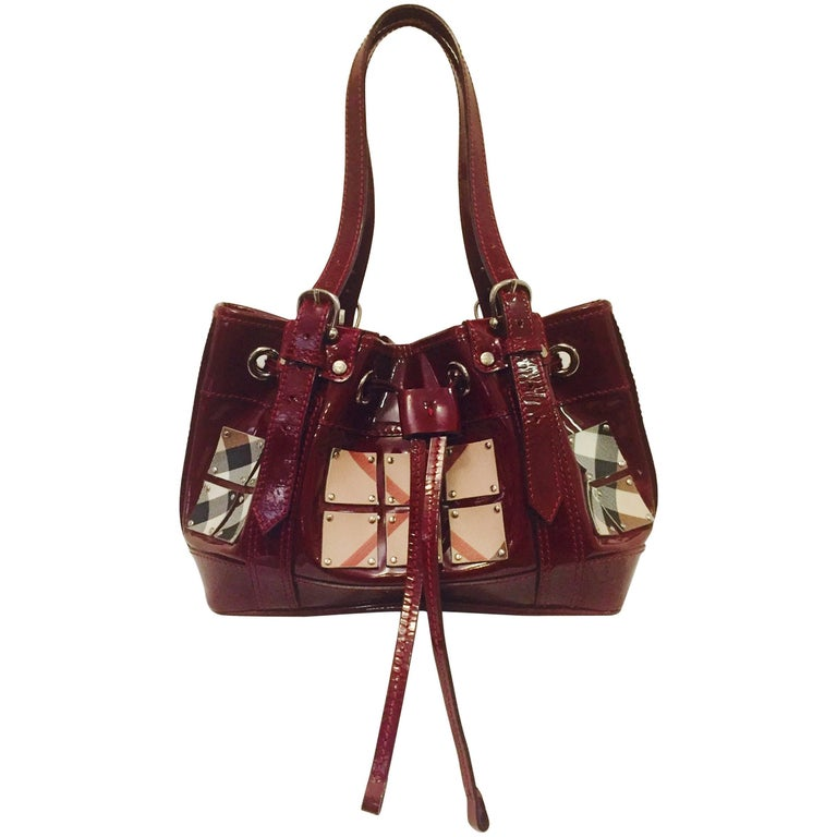 British Burberry Satchel with Coated Canvas Squares on Burgundy Patent Leather
