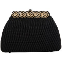 Judith Leiber Black Quilted Silk Evening Bag, Circa 1980s