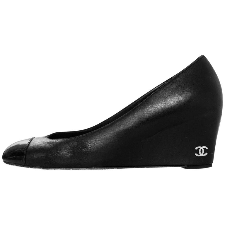 Chanel Black Leather Cap-Toe Wedges Sz 37.5 For Sale