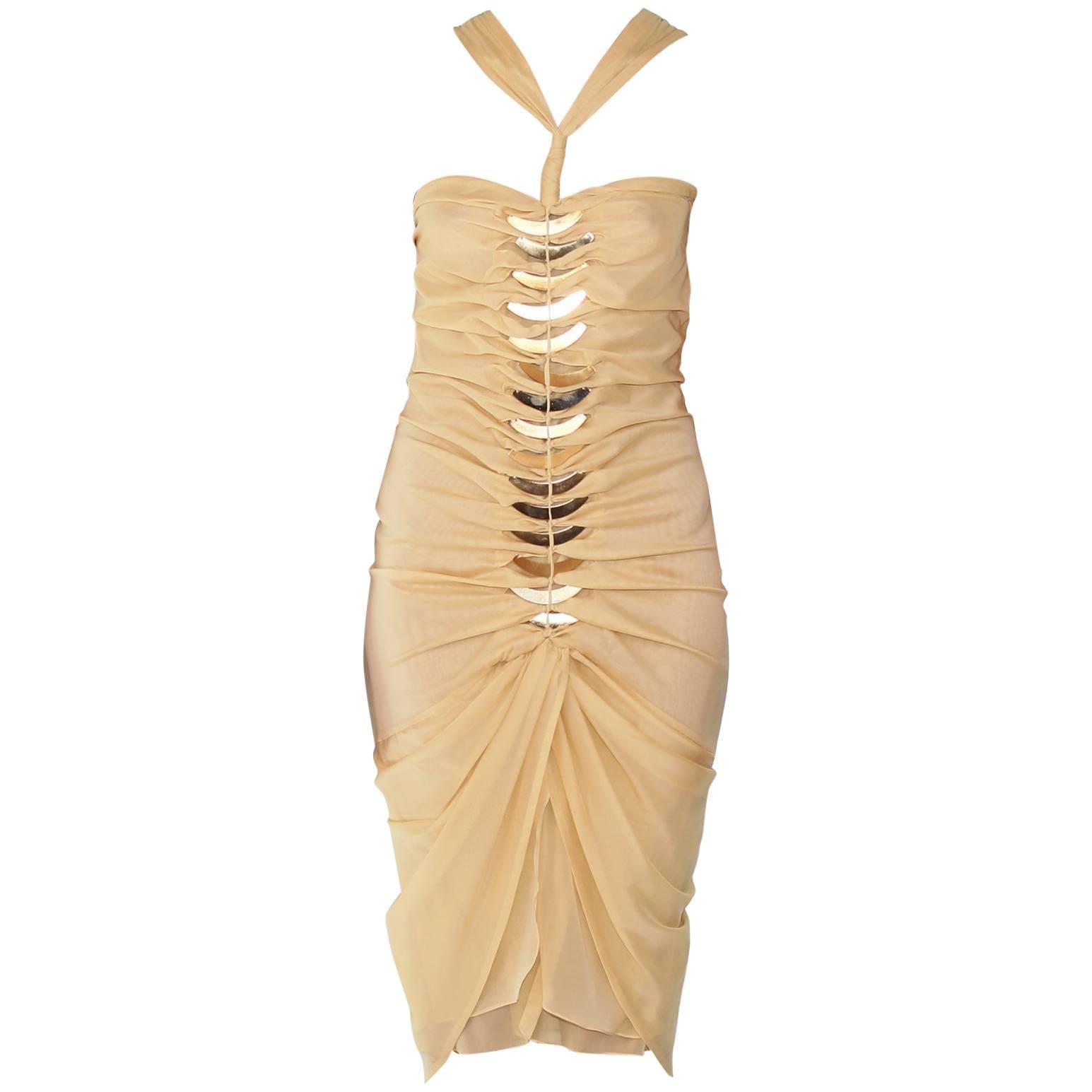 2004 Tom Ford for Gucci Embellished Silk Dress