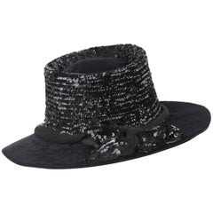 EDWARDIAN c.1900's Black Beaver Fur Felt Sequin Embellished Afternoon Hat