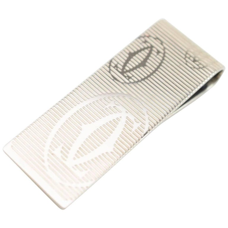 Cartier Silver Metal Textured Men's Money Clip in Box