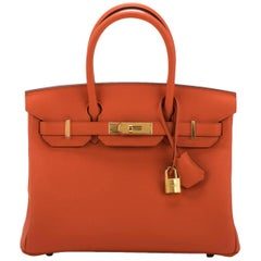 New in Box Hermes Birkin 30 Togo Feu Gold Bag