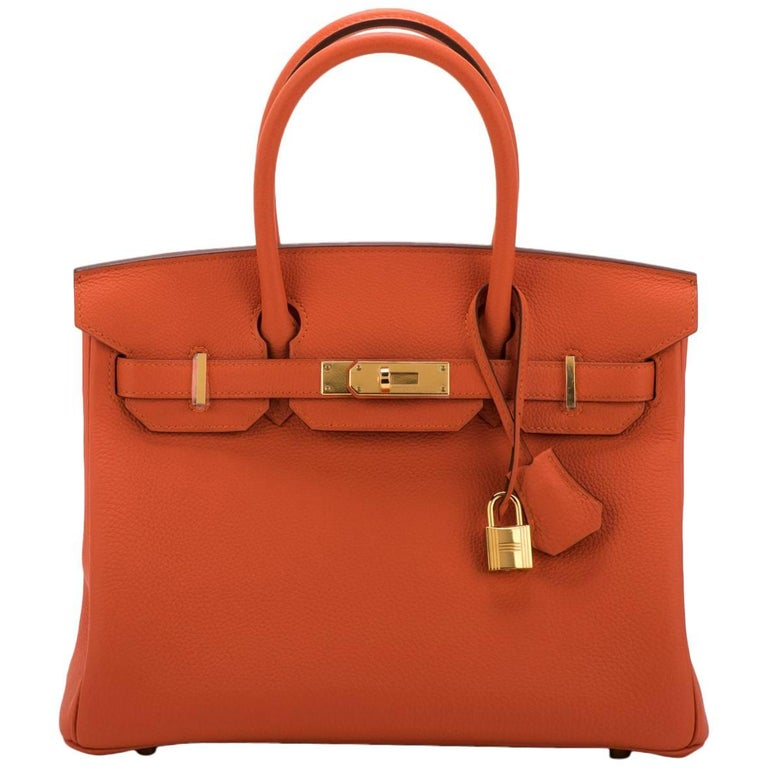 4611b4027a New in Box Hermes Birkin 30 Togo Feu Gold Bag at 1stdibs