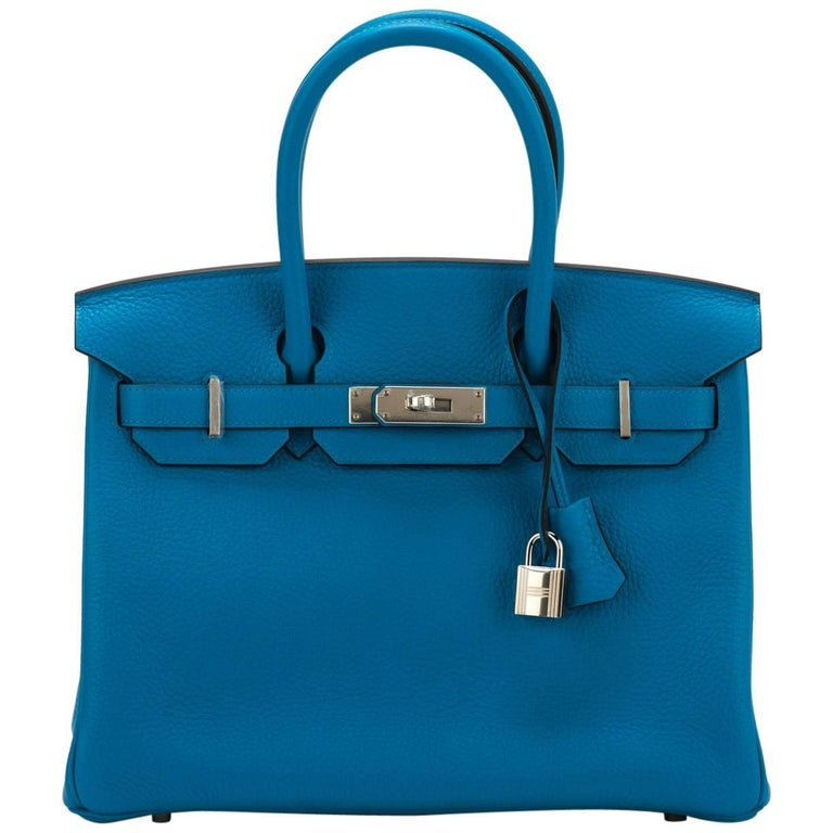 New Hermes Birkin 30 Blue Zanzibar Togo Bag