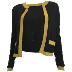 Chanel Black Cashmere Sweater Set with Gold Trim and Sequins