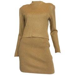 1990s St John Gold Knit Skirt Set