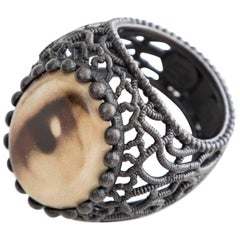 Bottega Veneta Oxidized Sterling Silver Eye Cocktail Ring, Circa 2011