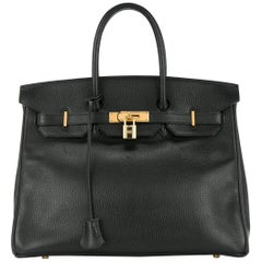 Hermes 35 Black Leather Gold Carryall Tote Top Handle Satchel Shoulder Bag