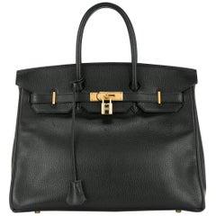 Hermes 35 Black Leather Gold Carryall Tote Top Handle Satchel Shoulder Bag