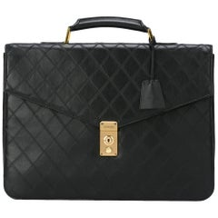 Chanel Black Leather Top Handle Satchel Men's Travel Carryall Briefcase Bag