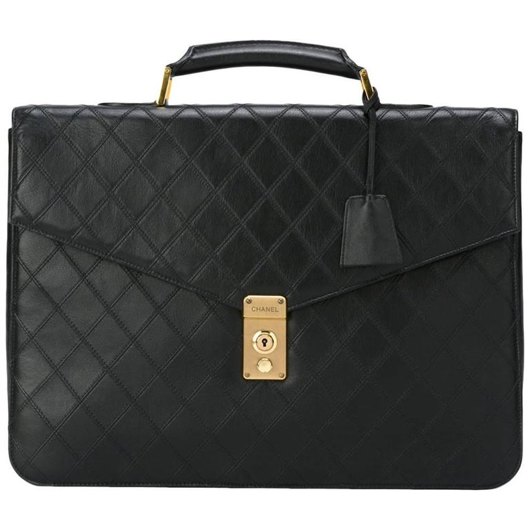 Chanel Black Leather Top Handle Satchel Men's Travel Carryall Briefcase Bag
