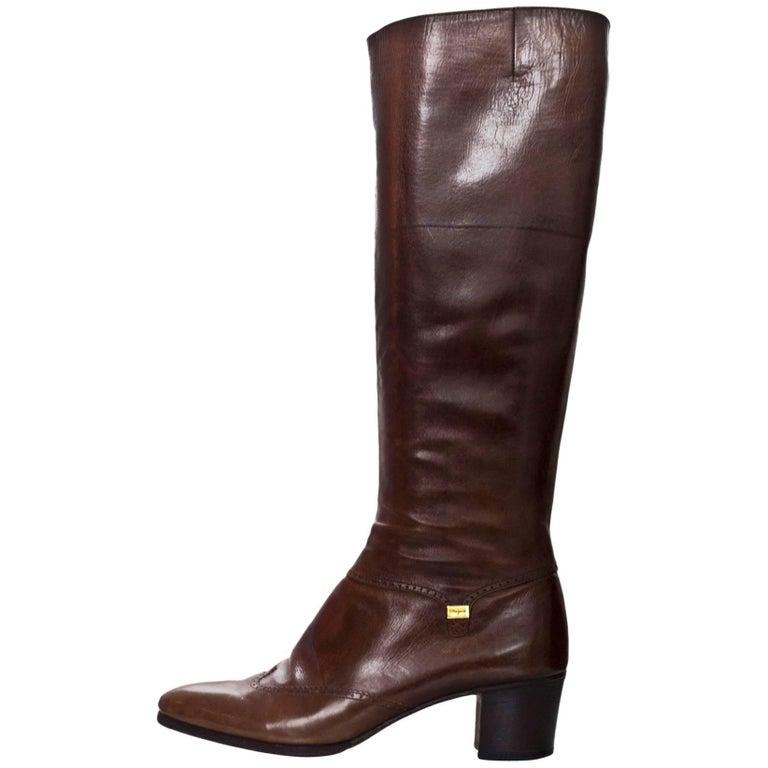 Salvatore Ferragamo Brown Leather Spectator Boots Sz 8AA