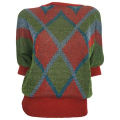 1980s Gianni Versace Red, Green, Blue Argyle Knit Sweater w/ Metallic Thread