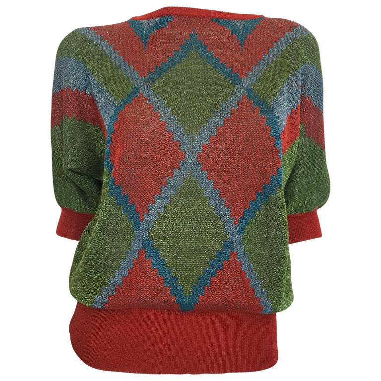 Gianni Versace 1980's Red, Green, Blue Argyle Knit Sweater w/ Metallic Thread