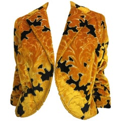 1960s Rudi Gernreich Yellow and Black Velvet Brocade Cropped Jacket