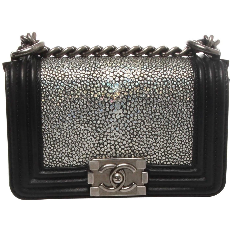 b150d2ab4a9c42 Chanel Metallic Silver Stingray Mini Boy Bag at 1stdibs