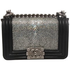 Chanel Metallic Silver Stingray Mini Boy Bag