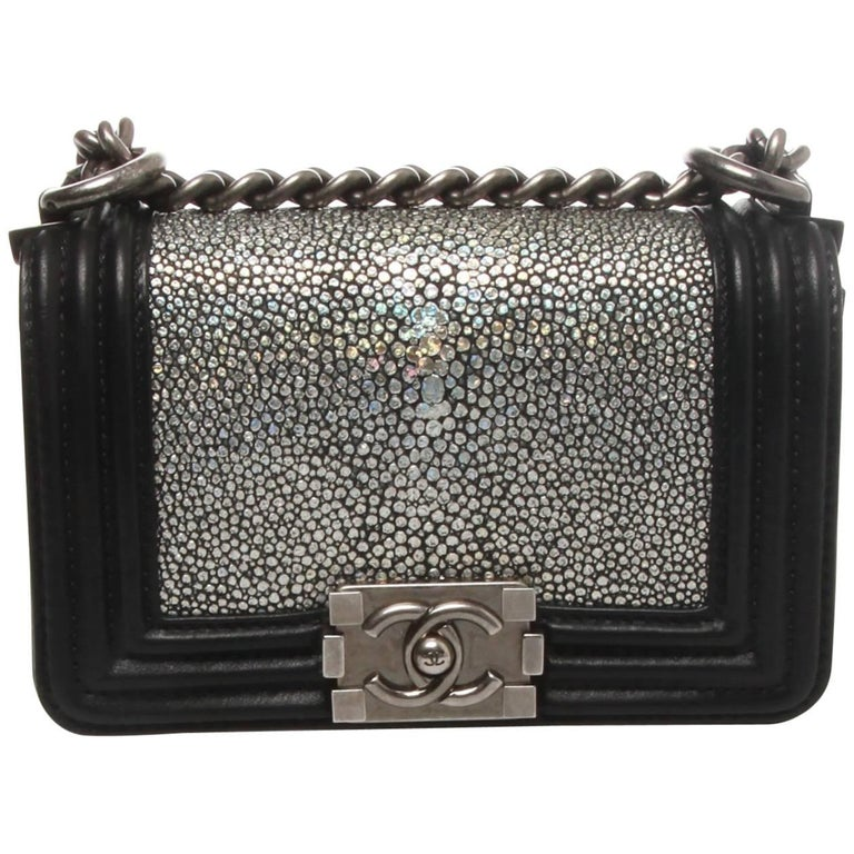 f7df8020cd48 Chanel Metallic Silver Stingray Mini Boy Bag at 1stdibs