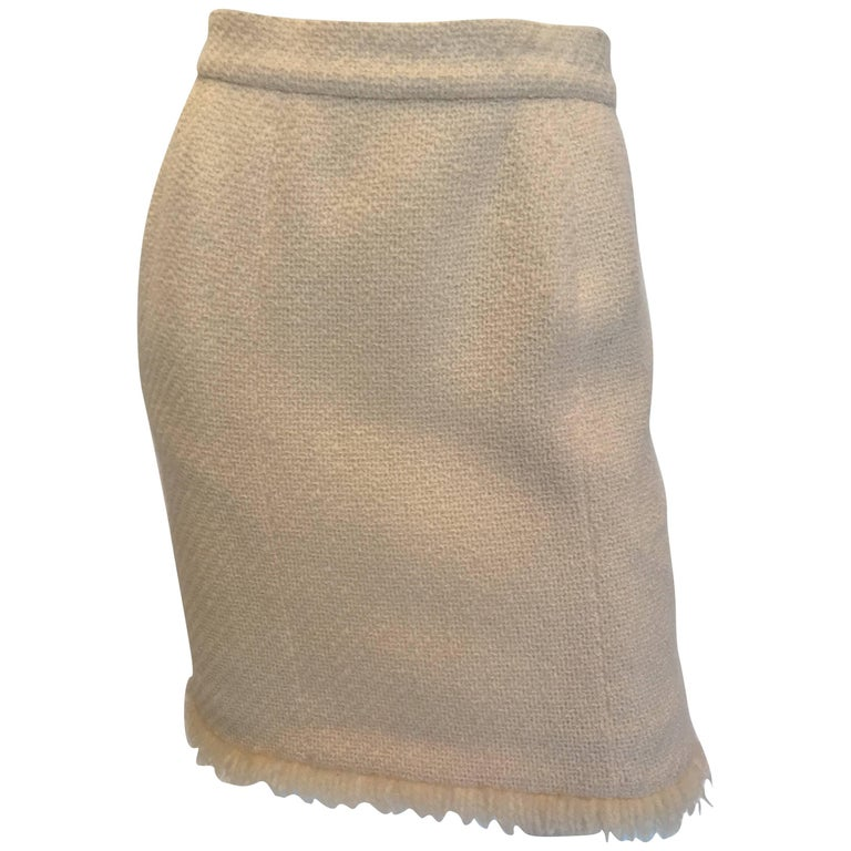 1980s Chanel Cream Colored Wool Tweed Skirt