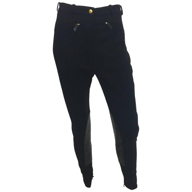 1970s Hermes Black Wool Riding Pants