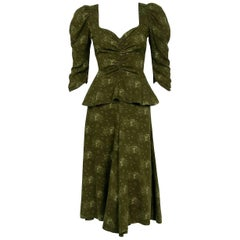 1973 Biba London Olive Green Clown Car Novelty Print Knit Plunge Peplum Dress
