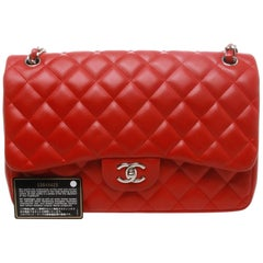 Chanel Lipstick Red Quilted Lambskin Leather Jumbo 2.55 Double Flap Bag