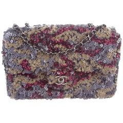 Chanel New Multi Color Sequin Leather Evening Flap Shoulder Bag in Box