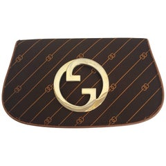 Gucci 1980's Brown Logo Clutch w/ Gold Emblem