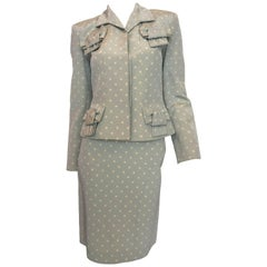 Givenchy 1990's Powder Blue and White Polka Dot Skirt Suit
