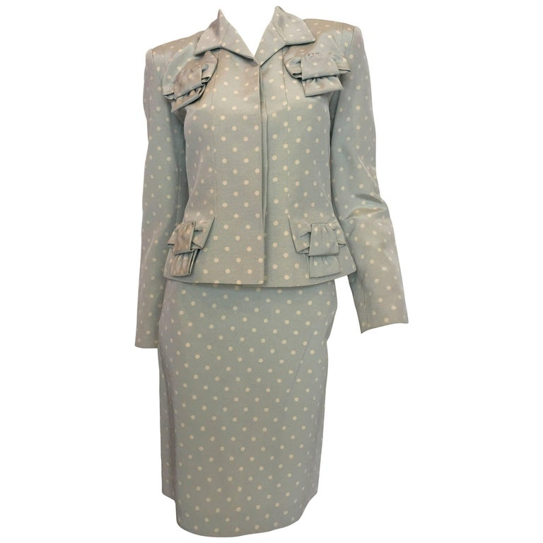 Givenchy Powder Blue and White Polka Dot Skirt Suit, 1990s