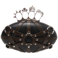 Alexander McQueen Harnessed Leather Skull Box Clutch