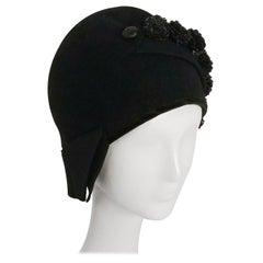 1920s Black Cloche Hat