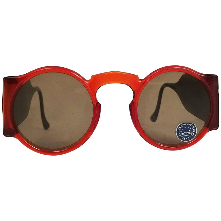 1930s Whiskey Brown Round Celluloid Sunglasses