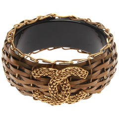 Chanel Bronze Bamboo Basket Resin Bangle Bracelet