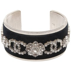 Chanel Velvet and Swarovski Crystal Cuff Bracelet
