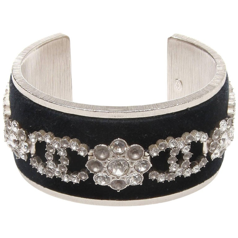 Chanel Velvet and Swarovski Crystal Cuff Bracelet For Sale at 1stdibs c639fda002