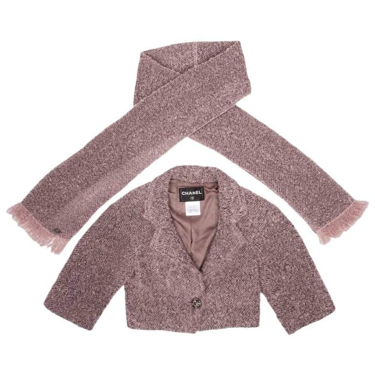 CHANEL Short Jacket in Rosewood Mohair with its Scarf Size 34 FR