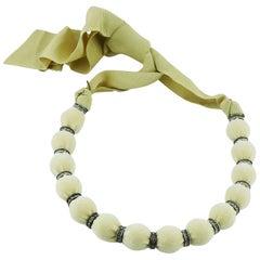Lanvin Beige Velvet Choker Necklace