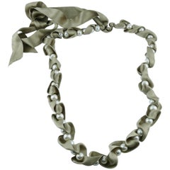 Lanvin White Pearls and Beige Satin Ribbon Necklace