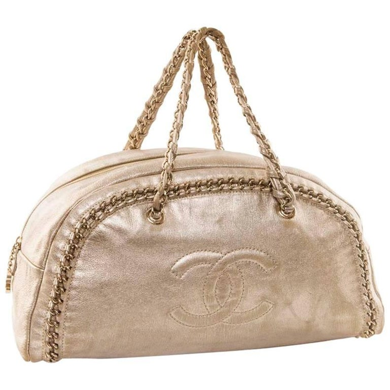 CHANEL Bowling Bag in Gilded Distressed Leather