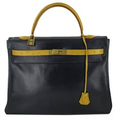 HERMES Vintage Kelly 35 Handbag in Navy Box Leather and Golden Ostrich Leather