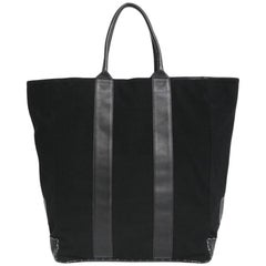 CHANEL Tote Bag in Black Jersey and Leather