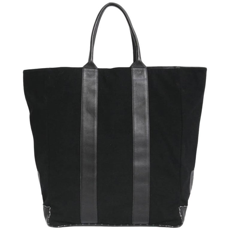 CHANEL Tote Bag in Black Jersey and Leather For Sale