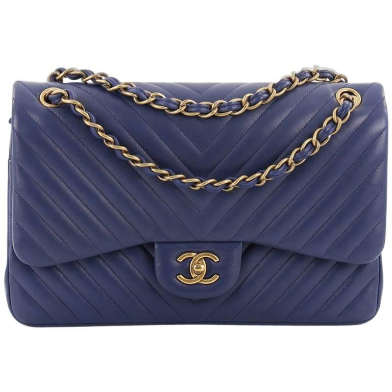 d137e5ded401 Chanel Classic Double Flap Bag Chevron Lambskin Jumbo at 1stdibs