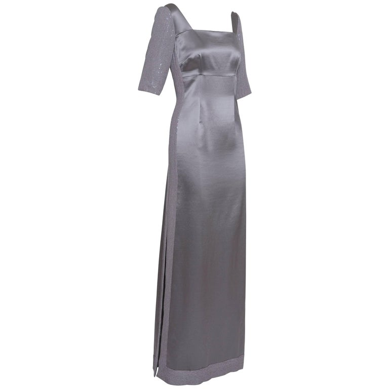 1990s Gray Embroidered Satin Evening Dress