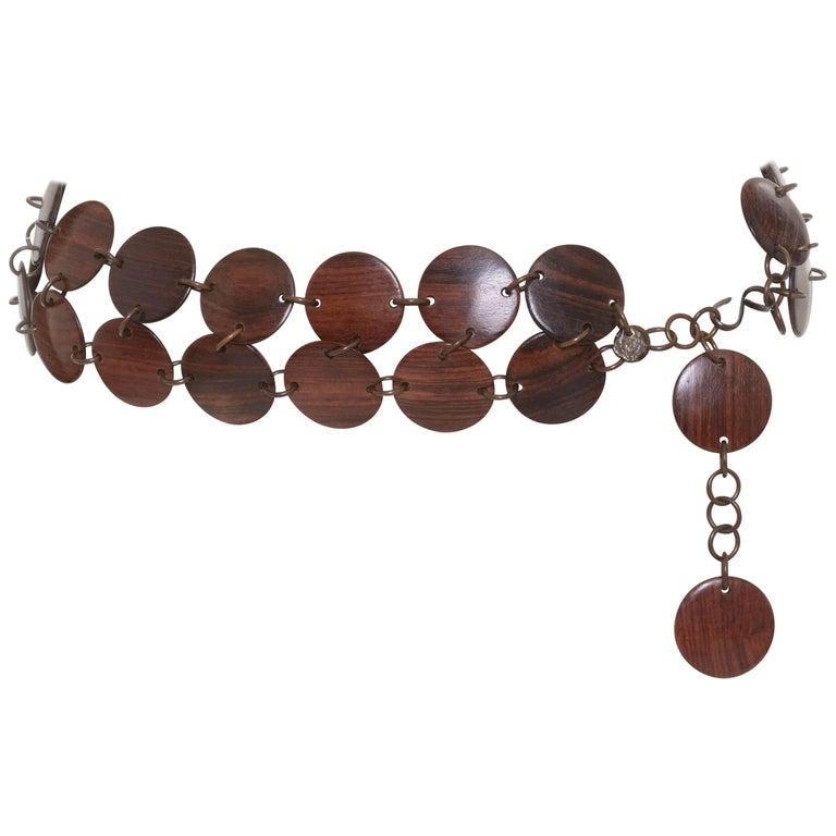 1970 Yves Saint Laurent YSL Rive Gauche Wood Disc Necklace Belt