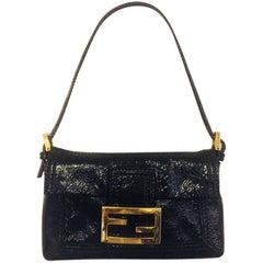Fantastic Fendi Black Textured Patent Leather Hand Bag